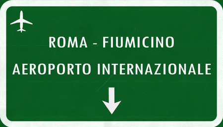 airfield: Roma Fiumicino Italy Airport Highway Sign 2D Illustration