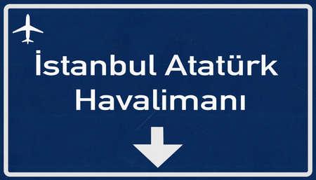 ataturk: Istanbul Ataturk Turkey Airport Highway Sign 2D Illustration