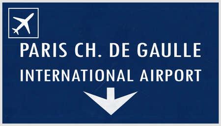 charles de gaulle: Paris De Gaulle France Airport Highway Sign 2D Illustration Stock Photo