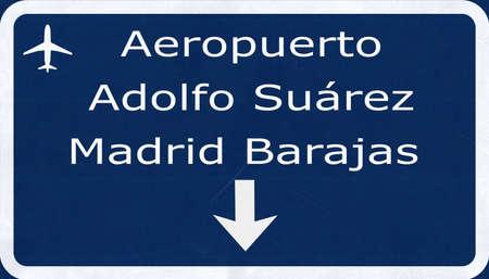 barajas: Madrid Barajas Spain Airport Highway Sign 2D Illustration