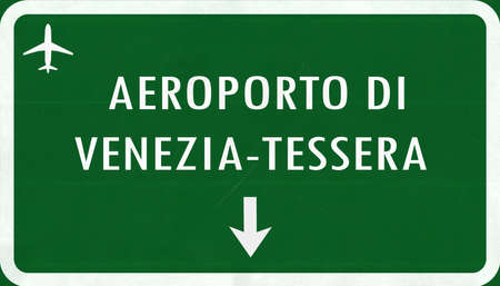 venezia: Venice Italy Airport Highway Sign 2D Illustration