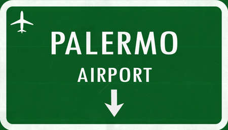 palermo   italy: Palermo Italy Airport Highway Sign 2D Illustration Stock Photo