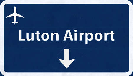 airfield: London Luton England United Kingdom Airport Highway Sign 2D Illustration Stock Photo