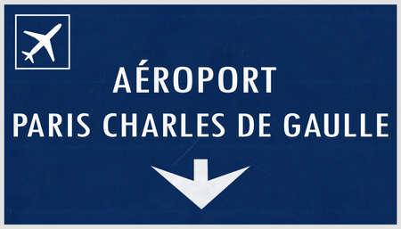 Paris De Gaulle France Airport Highway Sign 2D Illustration Banque d'images