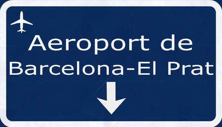 airfield: Barcelona Spain Airport Highway Sign 2D Illustration