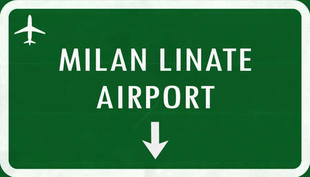 mian: Mian Linate Italy Airport Highway Sign 2D Illustration
