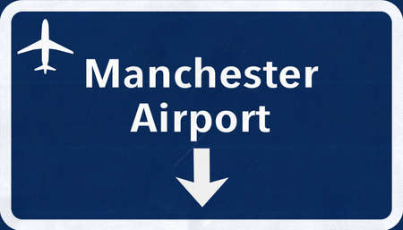 airfield: Manchester England United Kingdom Airport Highway Sign 2D Illustration