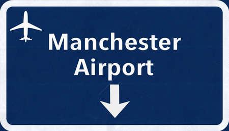manchester: Manchester England United Kingdom Airport Highway Sign 2D Illustration