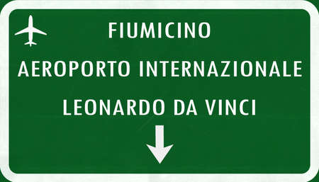 roma: Roma Fiumicino Italy Airport Highway Sign 2D Illustration