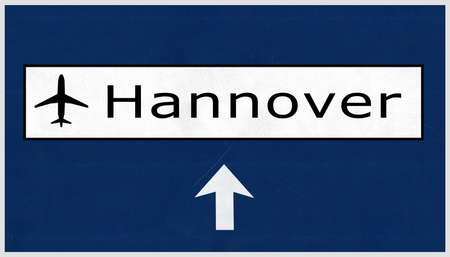 airfield: Hannover Germany Airport Highway Sign 2D Illustration Stock Photo