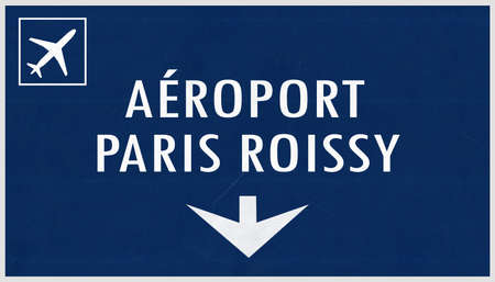 french board: Paris De Gaulle France Airport Highway Sign 2D Illustration Stock Photo