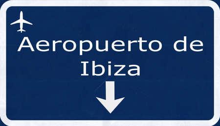 ibiza: Ibiza Spain Airport Highway Sign 2D Illustration Stock Photo