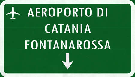 airfield: Catania Italy Airport Highway Sign 2D Illustration