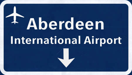 aberdeen: Aberdeen Scotland Airport Highway Sign 2D Illustration Stock Photo