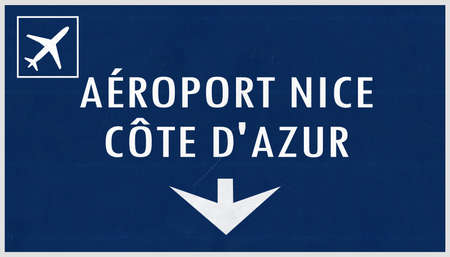 airfield: Nice France Airport Highway Sign 2D Illustration