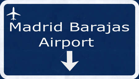 barajas: Madrid Barajas Spain Airport Highway Sign 2D Illustration