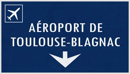toulouse: Toulouse France Airport Highway Sign 2D Illustration