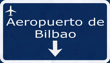 airfield: Bilbao Spain Airport Highway Sign 2D Illustration