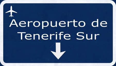 sur: Tenerife Sur Spain Airport Highway Sign 2D Illustration