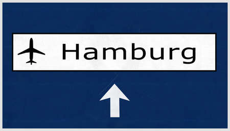 airfield: Hamburg Germany Airport Highway Sign 2D Illustration Stock Photo