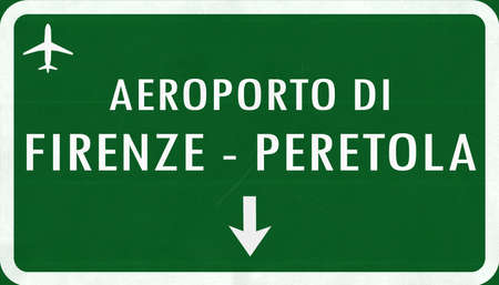 firenze: Firenze Italy Airport Highway Sign 2D Illustration