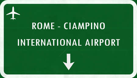 airfield: Rome Ciampino Italy Airport Highway Sign 2D Illustration Stock Photo
