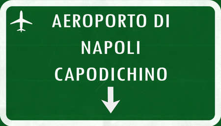 airfield: Napoli Italy Airport Highway Sign 2D Illustration Stock Photo
