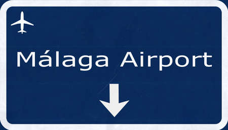sol: Malaga Costa Del Sol Spain Airport Highway Sign 2D Illustration