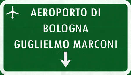 airfield: Bologna Italy Airport Highway Sign 2D Illustration Stock Photo