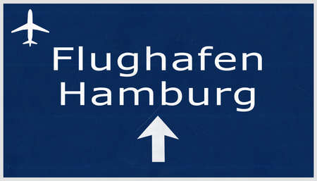 Hamburg Germany Airport Highway Sign 2D Illustration Reklamní fotografie