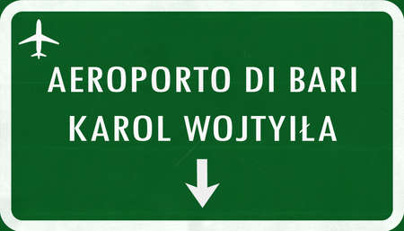 airfield: Bari Karol Wojtyila Airport Highway Sign 2D Illustration Stock Photo