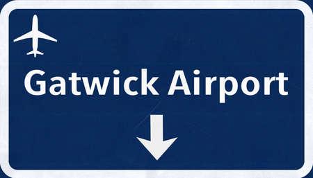 London Gatwick England United Kingdom Airport Highway Sign 2D Illustration
