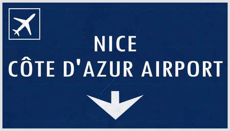 nice france: Nice France Airport Highway Sign 2D Illustration