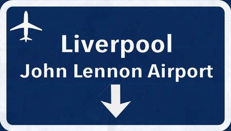 liverpool: Liverpool England United Kingdom Airport Highway Sign 2D Illustration