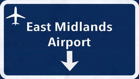 midlands: East Midlands England United Kingdom Airport Highway Sign 2D Illustration