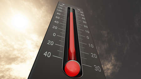 Thermometer Fahrenheit Celsius Heat IllustrationConcept of climate change, global warming, summer heat. Stock Photo