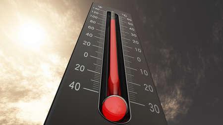 Thermometer Fahrenheit Celsius Heat IllustrationConcept of climate change, global warming, summer heat. 免版税图像