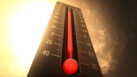 term�metro: Term�metro Fahrenheit Celsius Heat Ilustraci�n del concepto de cambio clim�tico, el calentamiento global, el calor del verano.