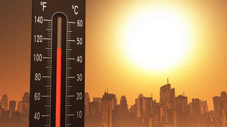 Thermometer Fahrenheit Celsius Heat IllustrationConcept of climate change, global warming, summer heat. Banque d'images