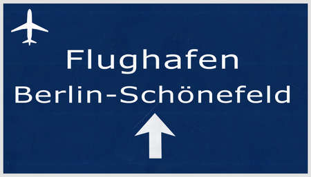 airfield: Berlin Schonefeld Germany Airport Highway Sign 2D Illustration
