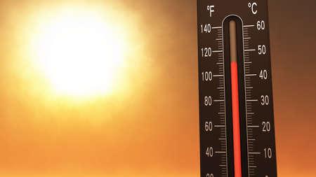 Thermometer Fahrenheit Celsius Hitze Illustration Konzept der Klimawandel, globale Erwärmung, Sommerhitze. Standard-Bild