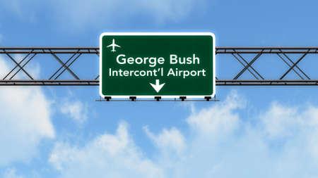 houston: Houston Bush USA Airport Highway Sign 3D Illustration