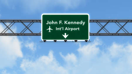 New York JFK Stati Uniti d'America Aeroporto autostrada segno Illustrazione 3D Archivio Fotografico - 44718743