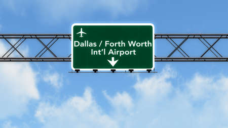 forth: Dallas Forth Worth USA Airport Highway Sign 3D Illustration