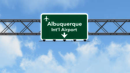 albuquerque: Albuquerque USA Airport Highway Sign 3D Illustration