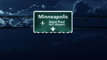 highway at night: Minneapolis USA Airport Highway Sign at Night 3D Illustration