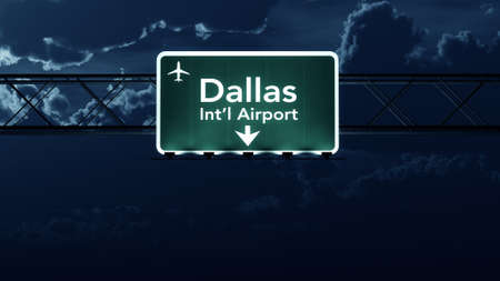 forth: Dallas Forth Worth USA Airport Highway Sign at Night 3D Illustration