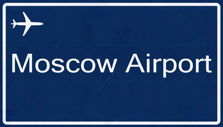 moskva: Moscow Russia Airport Highway Sign 2D Illustration