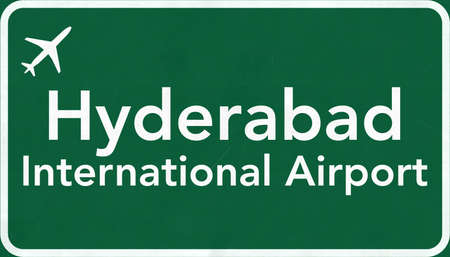 hyderabad: Hyderabad India Airport Highway Sign 2D Illustration