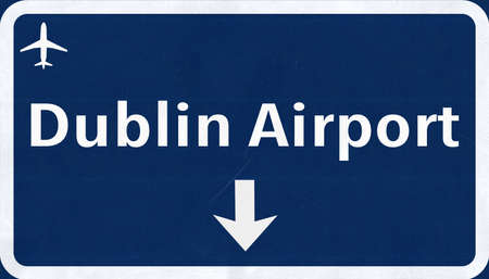 highway sign: Dublin Ireland Airport Highway Sign 2D Illustration
